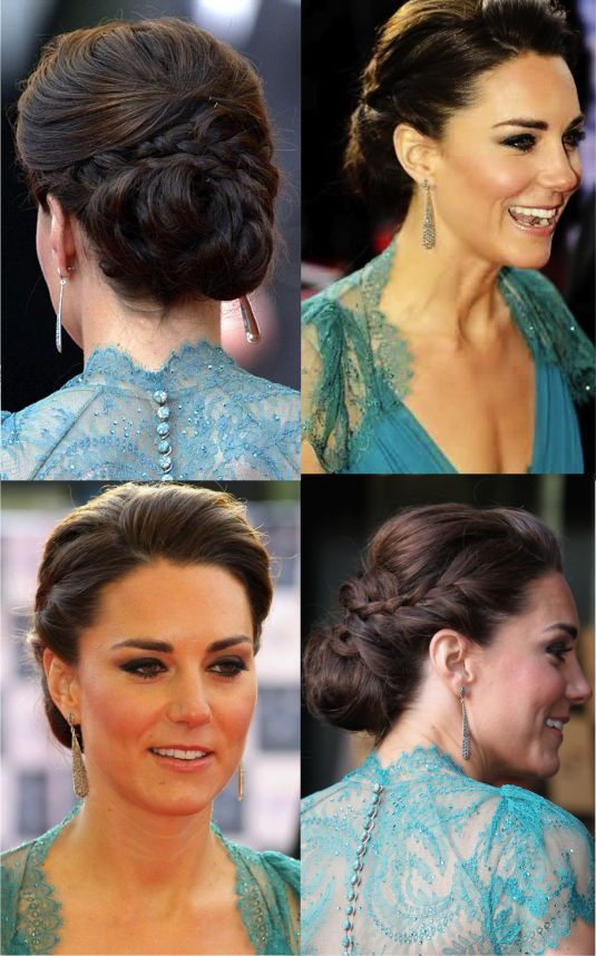 Updo with a braid (don't like the pouf over the forehead though)