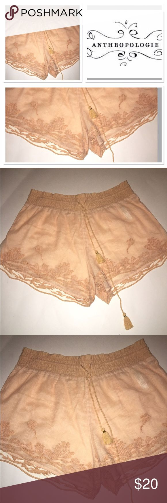 NWOT Anthropologie sheer peach shorts Brand new Anthropologie sheer peach shorts very sexy Anthropologie Shorts