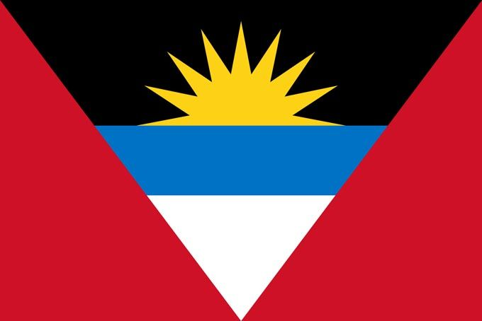 Flag of Antigua and Barbuda:   Antigua and Barbuda Flag  This is the national flag of Antigua and Barbuda, a nation of two islands found between the Atlantic Ocean and Caribbean Sea. Want to learn more? Check out these Antigua and Barbuda maps.