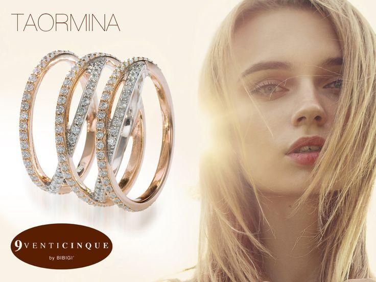 I cerchi concentrici e la luminosità delle pietre rendono la collezione Taormina quasi ipnotica, l'armonia che si crea tra i due materiali trasforma questo gioiello in un bijoux di lusso.