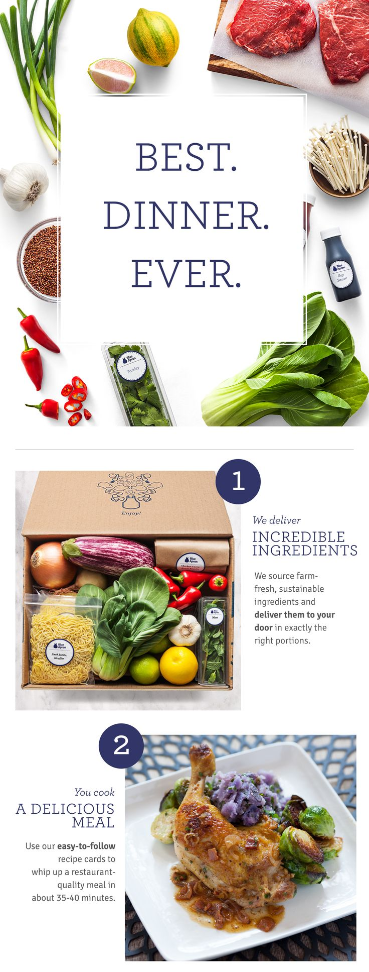Blue Apron makes it easy to create incredible meals each week with farm-fresh produce & step-by-step recipes. Get $20 off your 1st delivery! http://cook.ba/1qrJSbx