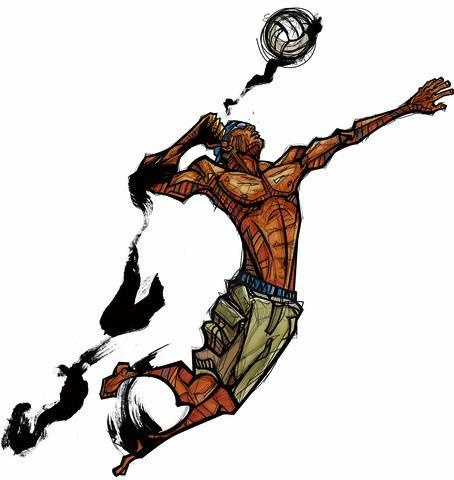 Man Hitting Volleyball, Side View : Custom Wall Decals, Wall Decal Art, and Wall Decal Murals | WallMonkeys.com