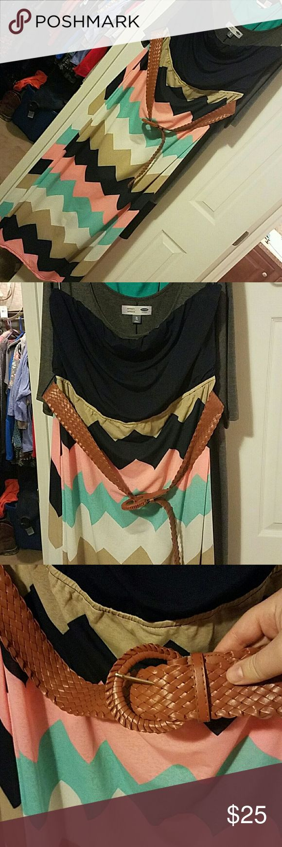 Strapless dress 2x Excellent condition strapless dress. 2x. Rue 21+. Chevron print. Navy top. Top slightly drapes and is very flattering. Brown belt included. Perfect for the beach, summer wedding, going out.... Rue 21 Dresses Strapless