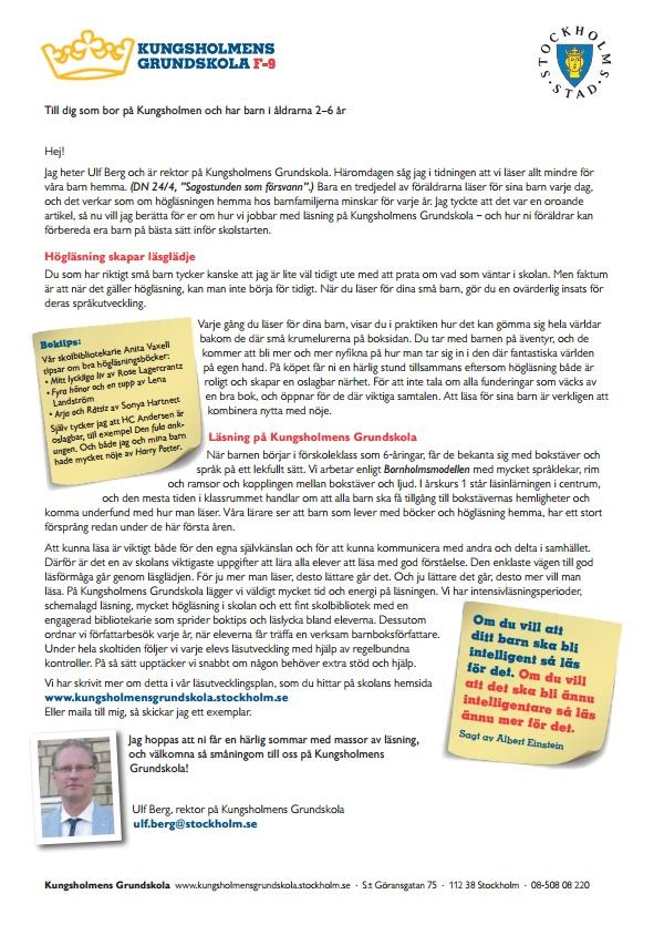 Brev om vikten av högläsning från rektor till småbarnsföräldrar i närområdet.
