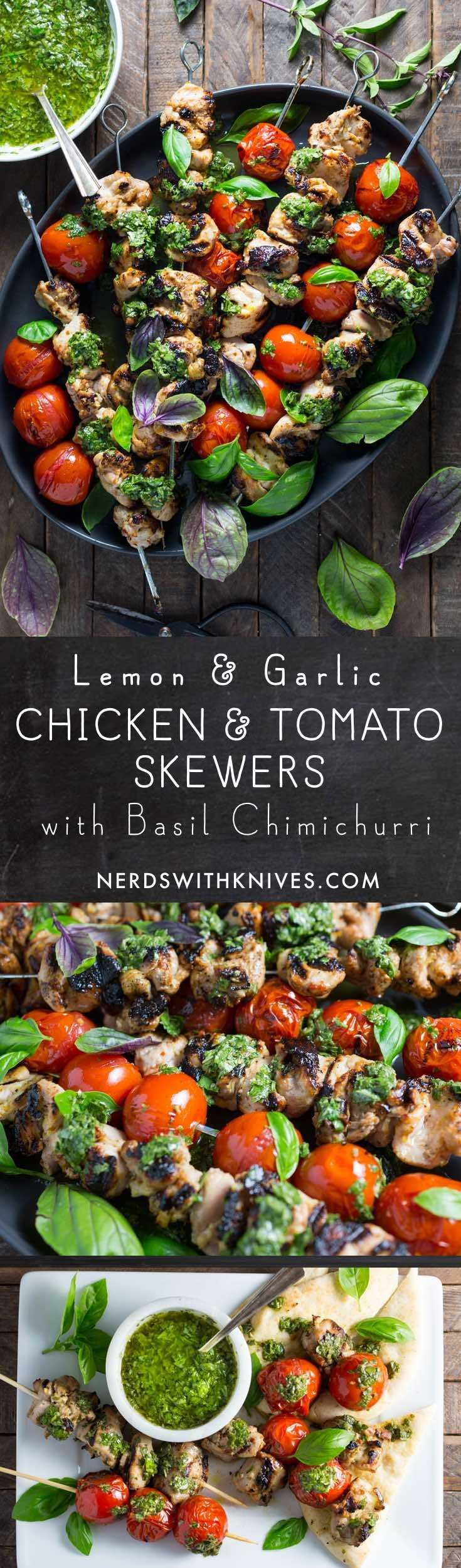 Grilled chicken doesn't always need a long marinade to be full of flavor. The hot chicken absorbs the flavor of the lemon-garlic marinade and basil chimichurri, and the grilled cherry tomatoes bring sweetness and acid.