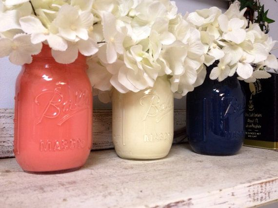 Painted Coral, White, and Navy Mason Jars. Perfect for Gifts, Home Decorations, and Weddings. on Etsy, $24.00
