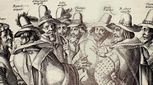 """Guy Fawkes y """"La conspiración de la pólvora"""". Fawkes, fanático católico que quiso explotar el parlamento británico, con todos sus miembros y reyes incluídos, en noviembre de 1605."""