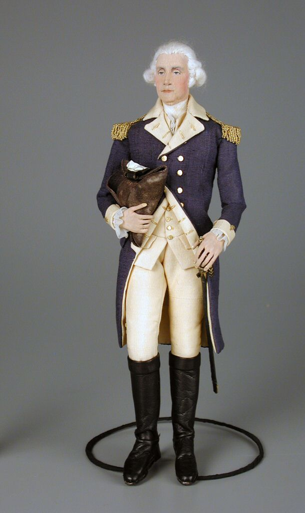 George Washington  doll  ca. 1950  Artist	Dorothy Heizer  Material	copper | cotton | silk | leather  Origin	Chatham, NJ  Style	American Artist (NIADA) | portrait  Object ID	105.197  Credit Line	Gift of Marjorie Chambers in memory of Lorna Beers  National Museum of Play Online Collections
