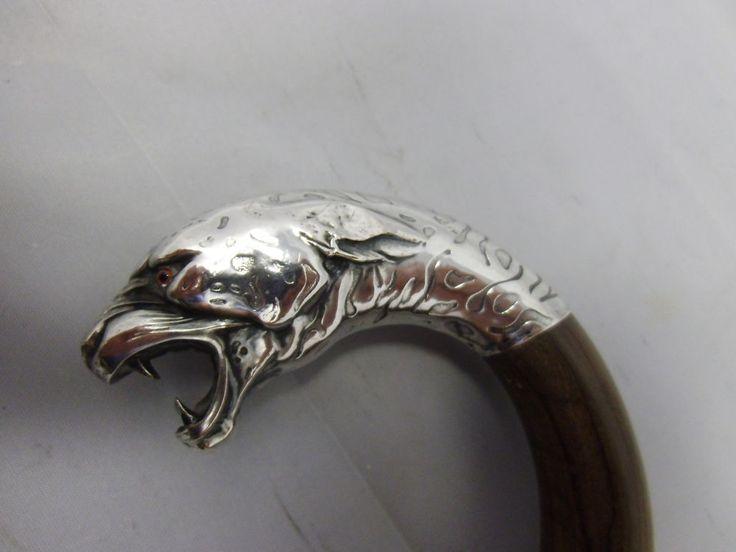 Spazierstock Gehstock Flanierstock Katze Silber 800 punziert um 1900