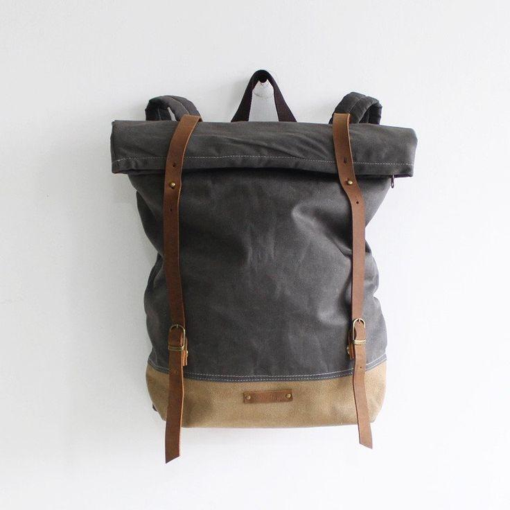 Handcrafted Waxed Canvas Travel Backpack Waterproof Backpack Hiking Rucksack Laptop Backpack 14129