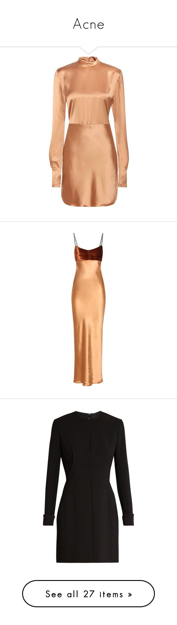 """""""Acne"""" by evalevmar ❤ liked on Polyvore featuring dresses, платья, beige, red satin cocktail dress, beige cocktail dress, satin cocktail dress, beige dress, satin dress, gowns and long dresses"""
