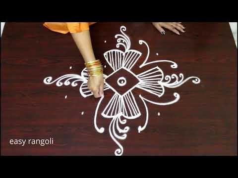 how to draw creative rangoli art designs without color - beautiful kolam designs - muggulu designs - YouTube