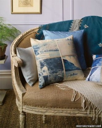 Photo pillow : I like the monochromatic panel approach shown. You can tweak your photos to your color scheme.  :  : Source: MarthaStewart.com