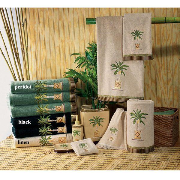 Banana palm tree decorative bath accessories by avanti for Palm tree bathroom ideas