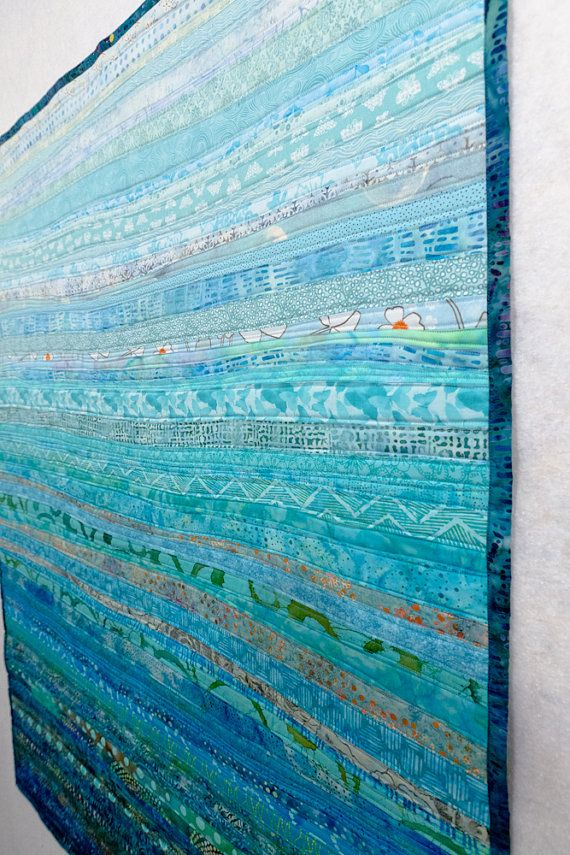Quilt fiber art wall hanging tidal currents one by btaylorquilts