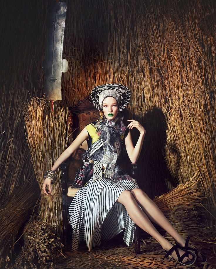 visual optimism; fashion editorials, shows, campaigns & more!: tribal fashion: charlotte kay by damian foxe for how to spend it 4th june 2014