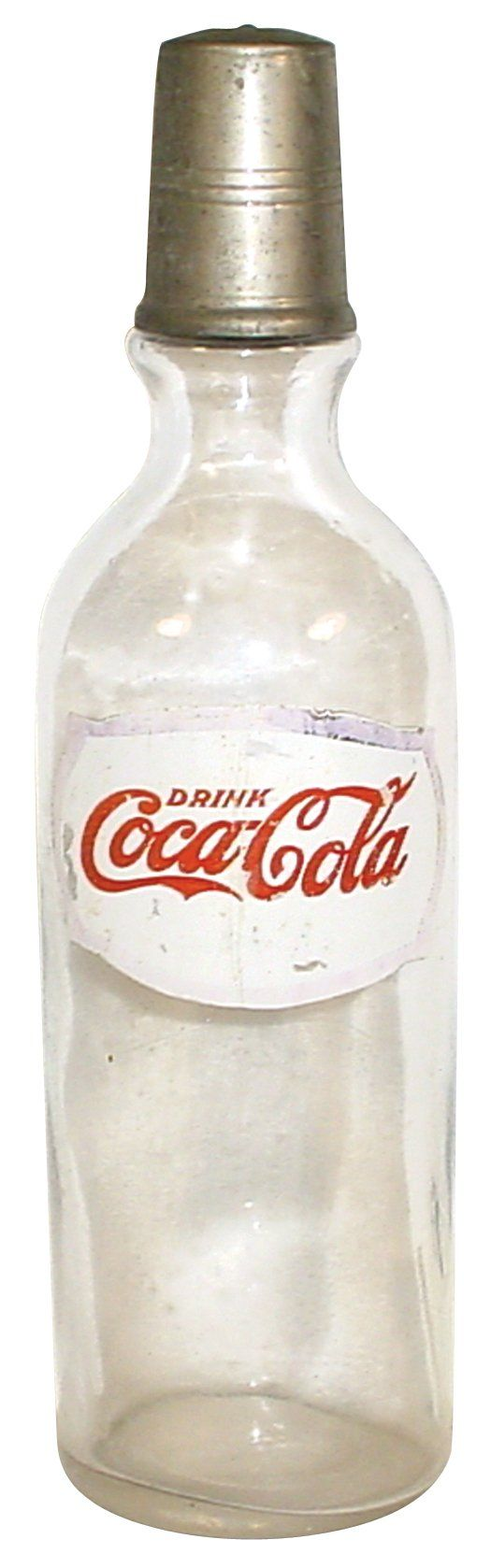 Soda fountain syrup bottle, Coca-Cola, applied color label, glass w/metal pour cap