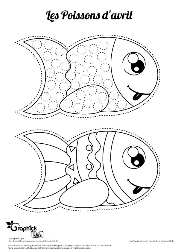 poisson d'avril gommette et coloriage sur GraphiCK-Kids