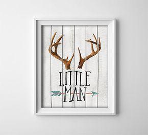 """INSTANT DOWNLOAD 8X10"""" Printable Digital art file """"Little Man"""" Nursery art - rustic wood style background - antlers - arrow - baby - SKU:141"""