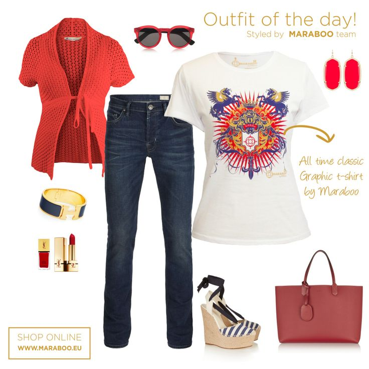 Dark jeans,royal red t-shirt 39.90€,red cardigan,red handbag