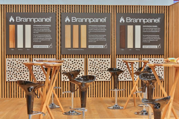 Exhibition stand, Woodify, Bygg Reis Deg 2013. Solid wood, oak, fire retardant treated wood, Brannpanel. Sample wall, acoustics.