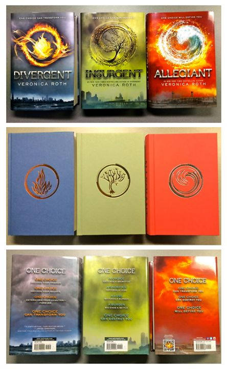 Divergent, Insurgent, and Allegiant all together.