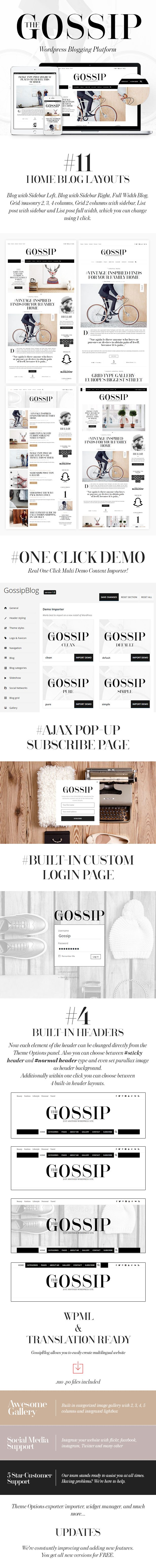 GossipBlog - Pure & Simple Personal WordPress Blog Theme Compatible with WP 4.4.2 GossipBlog is a simple, clean, personal, modern and professional blog ideal for spreading stories.   It's totally r...