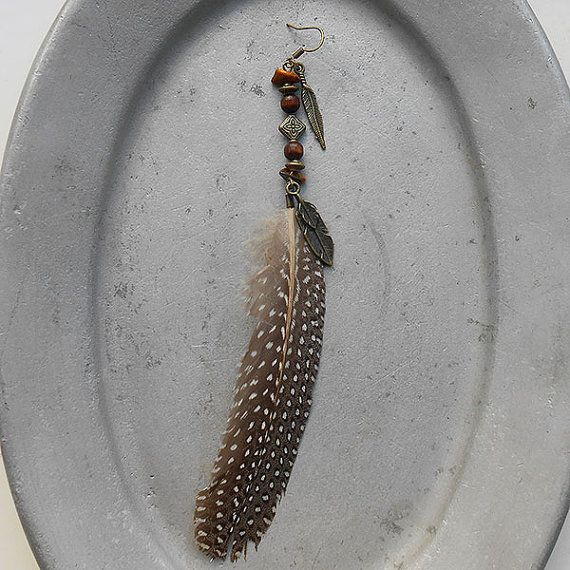 Free Spirit - Earrings In The Wind - peasant feather with brass feather charms, wooden beads, genuine tigers eye