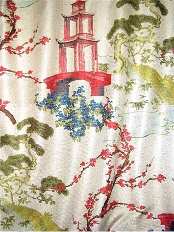 """Zen Linen - Chinoiserie Pagoda Print Fabric - Large scale digital print fabric. Perfect for upholstery fabric or drapery fabric. Durable 40,000 double rubs. Up the roll repeat; H 27"""" x V 27"""". 54"""" wide."""