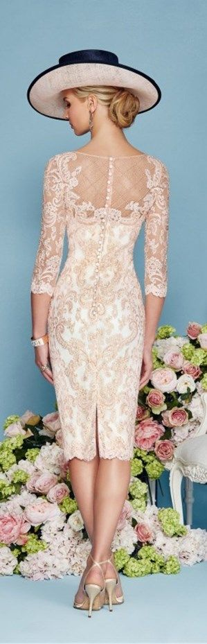This Light Pink Chiffon Lace Mother of the Bride Dress is fitted and has astonishing detailing throughout. An absolutely stunning embellished dress and matching jacket in Blush/Ivory. You'll get a gorgeous matching frock coat made from chiffon with mid-length sleeves with this mother of the groom dress (or bridesmaids dress). || More at http://www.cutedresses.co/product/light-pink-chiffon-lace-mother-bride-dress/