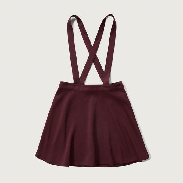 Abercrombie & Fitch Suspender Skater Skirt ($48) ❤ liked on Polyvore featuring skirts, burgundy, skater skirt, circle skirt, burgundy skater skirt, retro skirt and knee length skater skirt