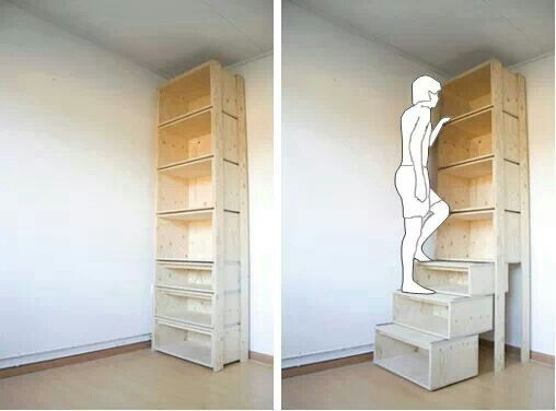 Garage Shelving Idea Bottom Shelves Slide Out To Create Stairs For Reaching Top Then Back In