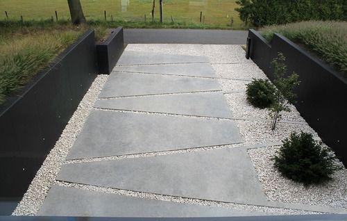 architecture design minimal brutal patterns driveway entry crushed rock hardscape grasses concrete belgium box