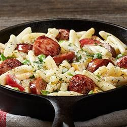 Sausage Alfredo: You can use any kind of pasta in this recipe, but I recommend a tube or spiral variety–shells would be good too. Just use something sturdy to go along with the sliced sausage.