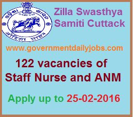 ZILLA SWASTHYA SAMITI CUTTACK RECRUITMENT 2016 APPLY FOR 122 STAFF NURSE & ANM POSTS ~ Government Daily Jobs