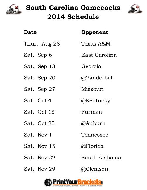 Printable South Carolina Gamecocks Football Schedule 2014