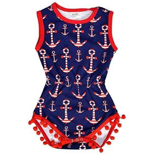 Unique Baby Girls 4th of July Baby Nautical One-Piece Bodysuit