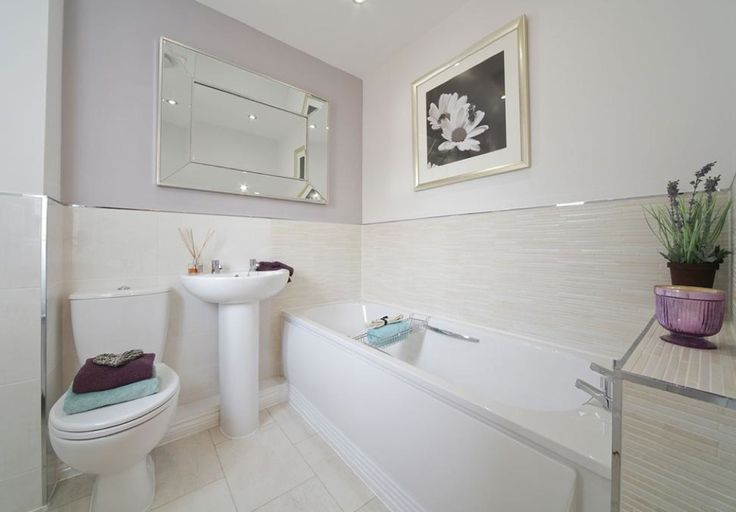 Taylor Wimpey - Lucet Meadow (Redditch) - Interio Designed Bathroom - Pale Lilac and bamboo effect wall tiles - this is perhaps one of the most serene schemes I've seen - for a small 3 bedroom semi, the whole house is bijoux luxury