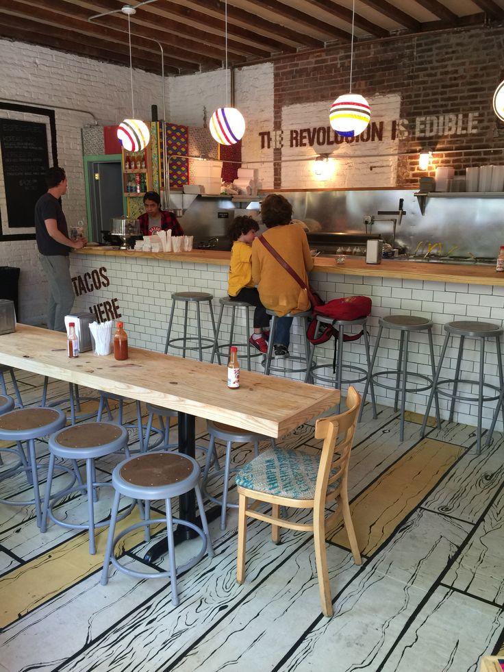 Restaurant Interior. Brooklyn. Painted wood floor.