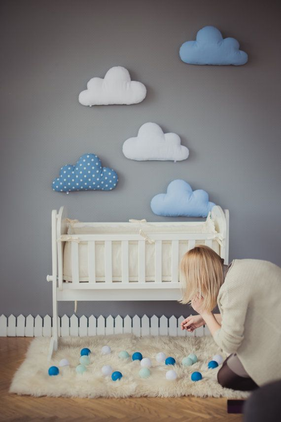 Kids Stuffed Cloud shaped pillow - Gift Ideas Baby Toddler Mobile - white blue…