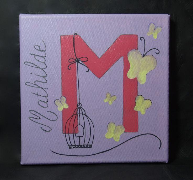 """Tableau prénom """"Mathilde"""" avec papillons : Décoration pour enfants par gribouille-et-chamalo"""
