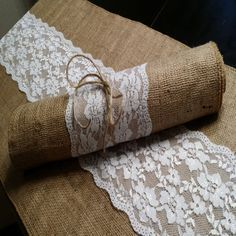 Burlap and Lace Table Runner 14 inches wide Rusting Wedding Decor by BurlapUSA