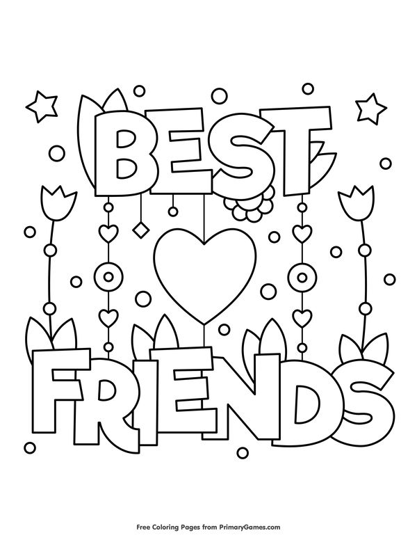 Valentine's Day Coloring Pages eBook: Best Friends