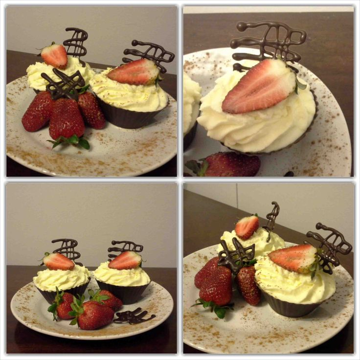 Chocolate cups with cream, cinnamon and strawberries