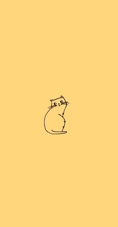 Cat Doodle Wallpaper In Sunflower Yellow Edit From Original