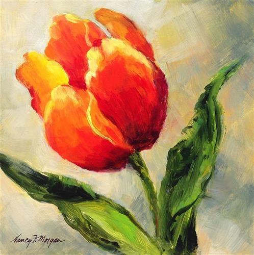 """Daily Paintworks - """"One Tulip"""" - Original Fine Art for Sale - © Nancy F. Morgan"""