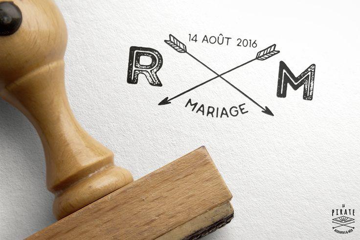 Tampon Mariage Initiales et Flèches croisées