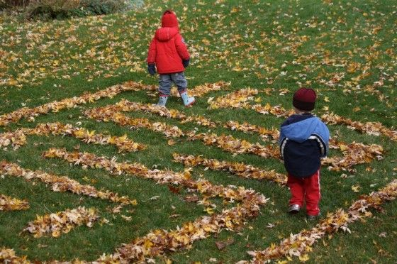 Create a maze out of leaves!