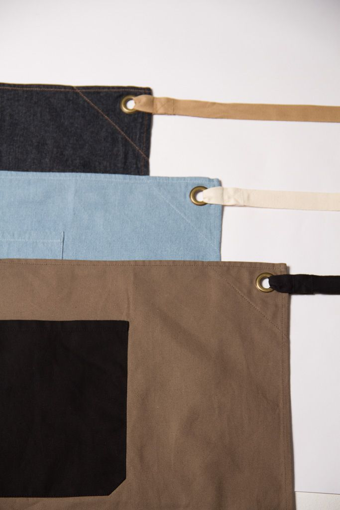 Style features and colour contrast on a few items from the apron range