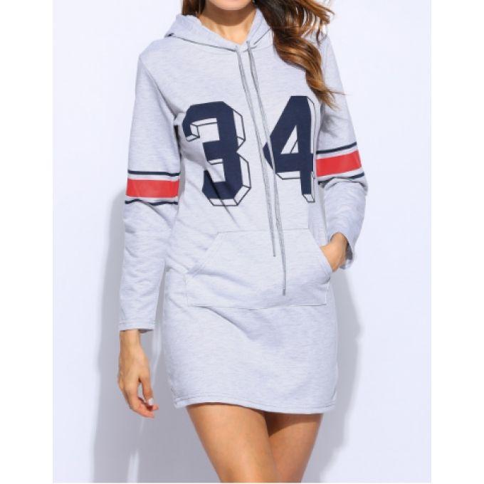 Long sweat fashion gris à capuche inscription 34 - bestyle29.com